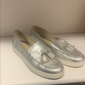 Michael Kors silver loafers
